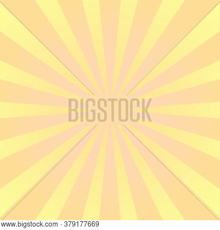 Sun Rays Background. Yellow Orange Radiate Sun Beam, Burst Effect. Sunbeam Light Flash Boom. Templat
