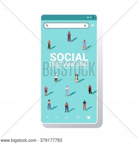 Mix Race People Keeping Distance To Prevent Coronavirus Pandemic Social Distancing Concept Smartphon