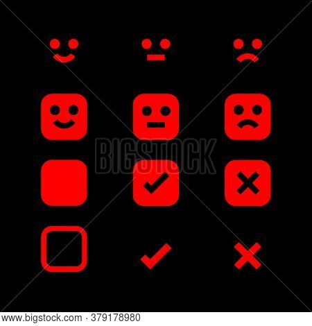 Red Glowing Icon And Emotions Face, Emotional Symbol And Approval Check Sign, Emotions Faces And Che