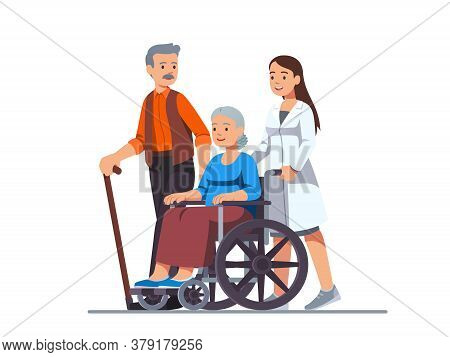 Nurse Pushing Wheelchair With Sick Old Woman