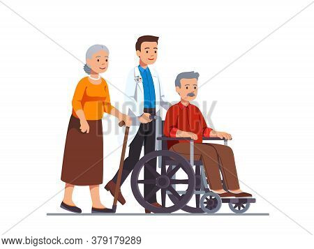 Family Doctor Pushing Wheelchair With Sick Old Man