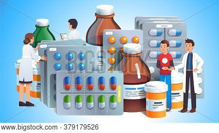 Various Meds. Pills, Bottles With Liquid Medicine