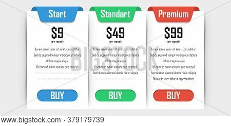Set Of Pricing Plans. Templates Table In Flat Design. Table Tariff Banner For Websites And Applicati
