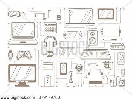 Electronic Handdrawn Gadgets Sketches Set. Devices Headphones With Virtual Glasses Gaming Equipment