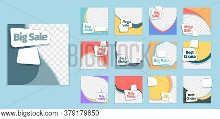 Discounts And Sales Social Fashion Banner Set. Modern Template Best Choise Geometric Color Design Ma