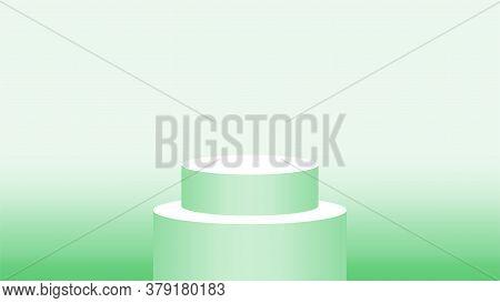 3d Pedestal Cylinder Circle Green Soft For Cosmetics Showcase, Podium Circle Stage Green Pastel Soft