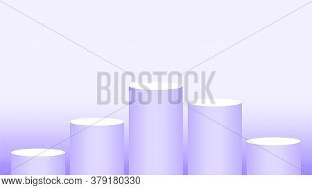 Purple Pedestal Cylinder Circle 5 Steps For Cosmetics Showcase, Podium Circle Stage Purple Pastel So