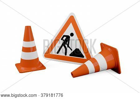 Two Orange Traffic Warning Cones Or Pylons With Street Or Road Construction Sign On White Background
