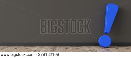 Blue Exclamation Mark Or Point Symbol Leaning Against Dark Wall On Wooden Floor Room With Copy Space