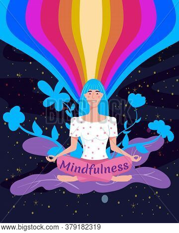 Mindfullness Yoga Meditation Woman Sit In The Lotus Position Meditate. Mental Calmness And Self Cons
