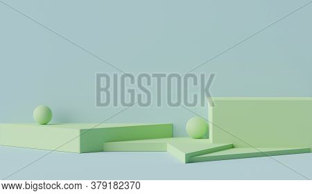 3d Geometric Forms. Blank Podium Display In Pastel Green Blue Color. Minimalist Pedestal Or Showcase