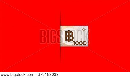 1,000 Baht Thai Banknote Money On Red Background For Banner, Thai Currency One Thousand Thb, Copy Sp