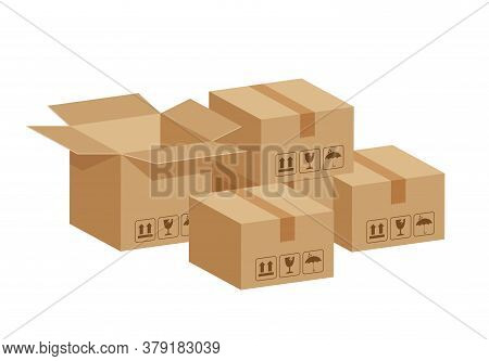 Stack Crate Boxes Brown And Box Open Isolated On White, Cardboard Box For Factory Warehouse Storage,