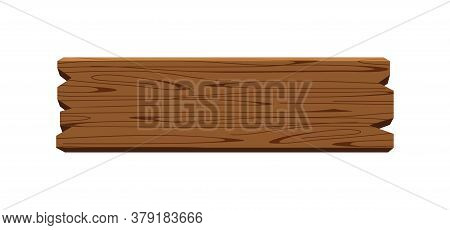 Plank Signage, Wooden Plank Dark Brown Isolated On White, Wood Board Horizontal Old, Empty Planks Wo