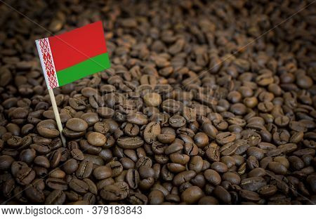 Belarus Flag Sticking In Roasted Coffee Beans. The Concept Of Export And Import Of Coffee