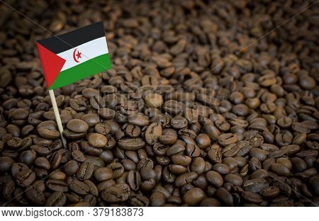 Western Sahara Flag Sticking In Roasted Coffee Beans. The Concept Of Export And Import Of Coffee
