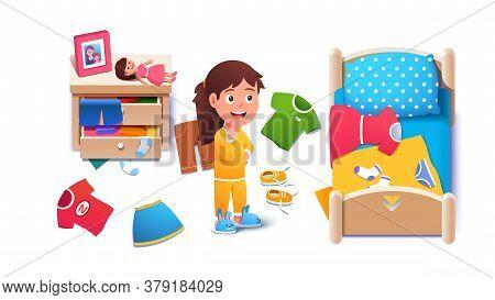 Kid Girls Untidy Messy Home Room Interior