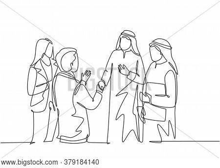 One Continuous Line Drawing Of Young Muslim Business Man Do A Meeting With Client. Saudi Arabian Bus