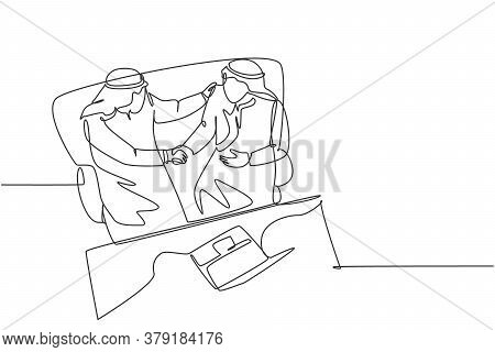 One Continuous Line Drawing Of Young Muslim Business Man Handshake To Deal A Business Project. Saudi