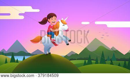 Girl Kid Riding Unicorn On Beautiful Meadow Hill