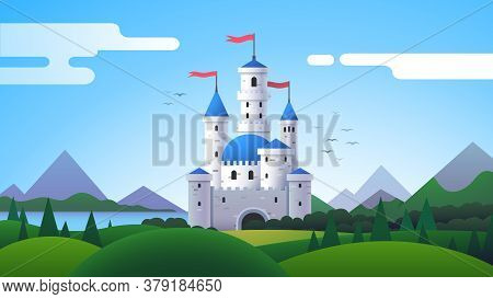 Fantasy Landscape With Castle, Mountains And Hills