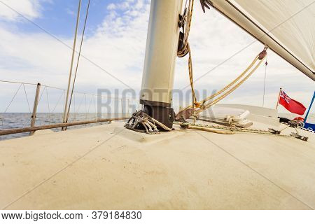Detailed Close Up Of Down Side Of Sail Mast
