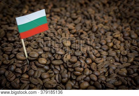 Bulgaria Flag Sticking In Roasted Coffee Beans. The Concept Of Export And Import Of Coffee