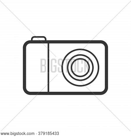 Photo Camera Outline Single Isolated Vector Icon