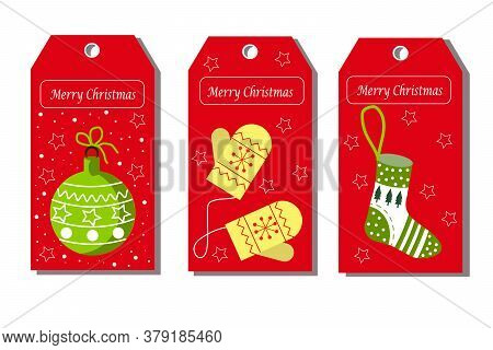 Christmas Tags With Balls, Mittens And A Christmas Sock. Tags For Shops, Gifts, Presentations With A