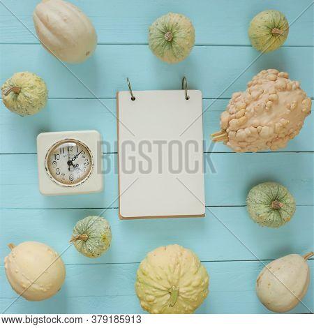 Autumn Mock Up.autumn Flat Lay. Blank Notebook,white Retro Alarm Clock, White And Green Decorative P