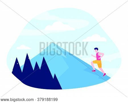 Young Man Climbing On Mountain