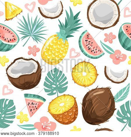 Modern Seamless Pattern With Pineapple, Coconut,  Watermelon, Flowers, Leaves And Heart. Summer Vibe