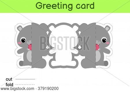 Cute Hippo Fold-a-long Greeting Card Template. Great For Birthdays, Baby Showers, Themed Parties. Pr