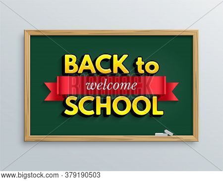Welcome Back To School Design Template. Vector Red Ribbon With Welcome Word And Back To School Text