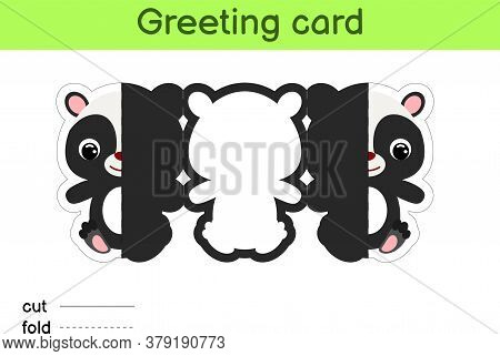 Cute Skunk Fold-a-long Greeting Card Template. Great For Birthdays, Baby Showers, Themed Parties. Pr