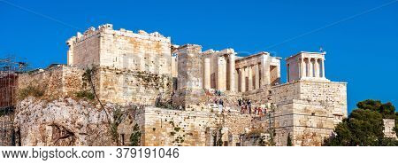 Acropolis Of Athens In Summer, Greece. It Is Top Tourist Attraction Of Old Athens. Panoramic View Of
