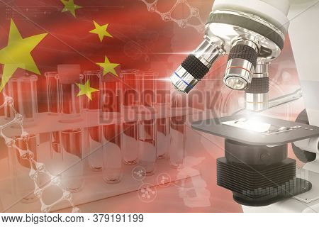 China Science Development Digital Background - Microscope On Flag. Research Of Pharmaceutical Indust
