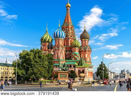Moscow - July 20, 2020: St Basil`s Cathedral On Red Square In Moscow, Russia. Beautiful Ancient Sain