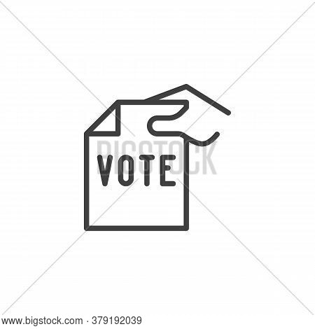 Hand Holding Vote Paper Line Icon. Linear Style Sign For Mobile Concept And Web Design. Hand With Ba