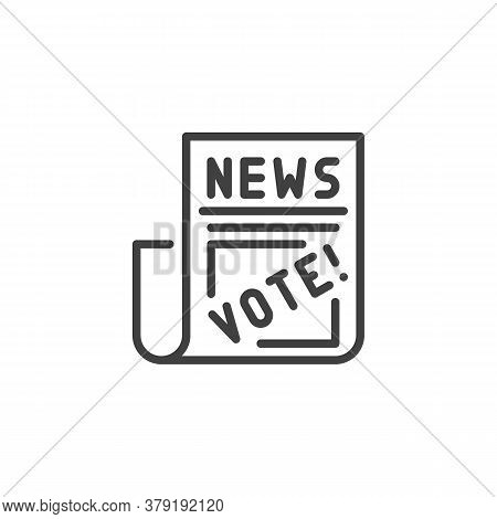 The Voting News Line Icon. Linear Style Sign For Mobile Concept And Web Design. Newspaper With Vote