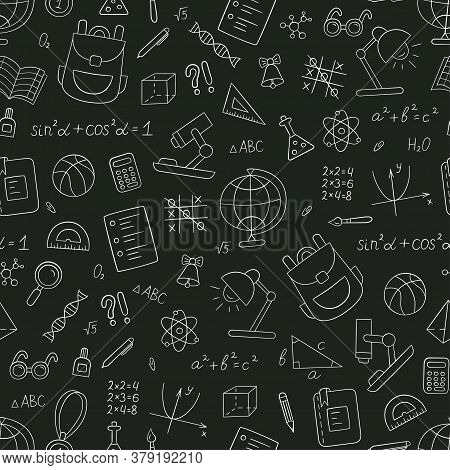 School Seamless Pattern In Doodle Style. Hand Drawn Vector Llustration On Chalkboard Background