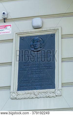 Jaroslaw, Poland - June 12, 2020: Plaque Commemorating Mikolaj Kopernik.