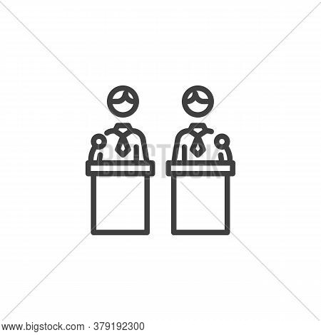 Political Debate Two Candidates Line Icon. Linear Style Sign For Mobile Concept And Web Design. Deba
