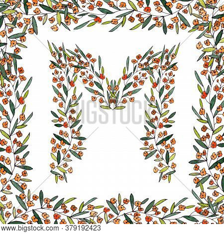 Letter M Of The English And Latin Floral Alphabet. Graphic In Square Frame On A White Background. Le