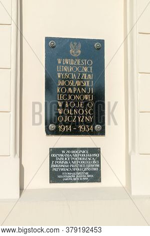 Jaroslaw, Poland - June 12, 2020: Plaque Commemorating The Struggles For The Freedom Of The Motherla