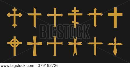 Gold Cross. Christian, Catholic, Greek Crosses. Icons Of Crucifix In Gothic Style. Symbol Of Church,