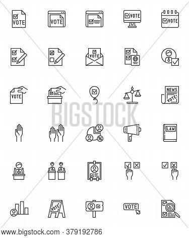 Voting And Election Line Icons Set. Linear Style Symbols Collection, Outline Signs Pack. Vector Grap