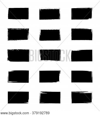 Square Grunge Texture. Paint From Brush. Stamp With Rough Frame. Distressed Borders On Black Shapes.
