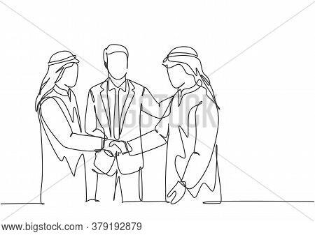 One Continuous Line Drawing Of Young Muslim Business Man Handshake His Colleague. Saudi Arabian Busi
