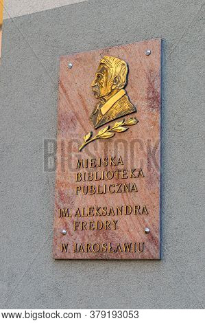 Jaroslaw, Poland - June 12, 2020: Information Plaque Of Municipal Public Library In Jaroslaw.